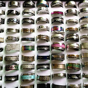 Image 4 - 50pcs stainless steel rings mixed styles mens womens top fashion jewelry wholesale lot bulk brand new