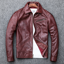 Free shipping.plus size mens vintage style leather jacket.Oil wax cow skin coat.autumn warm brown classic outwear.quality