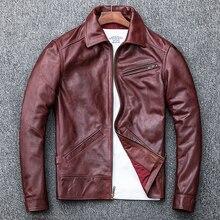 Spedizione gratuita. plus size mens stile vintage giacca di pelle. olio cera pelle di mucca cappotto. autunno marrone caldo outwear classico. qualità