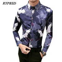 2018 Chinese Style Vintage Personality Print Floral Cranes Shirt Men Long Sleeve Slim Fit Regular Men