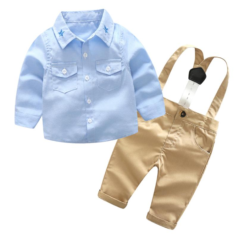 Fashion Baby Boys Gentleman Clothes Suit Spring Boys Long Sleeve Shirt Overalls England Style Newborn Cotton Clothing