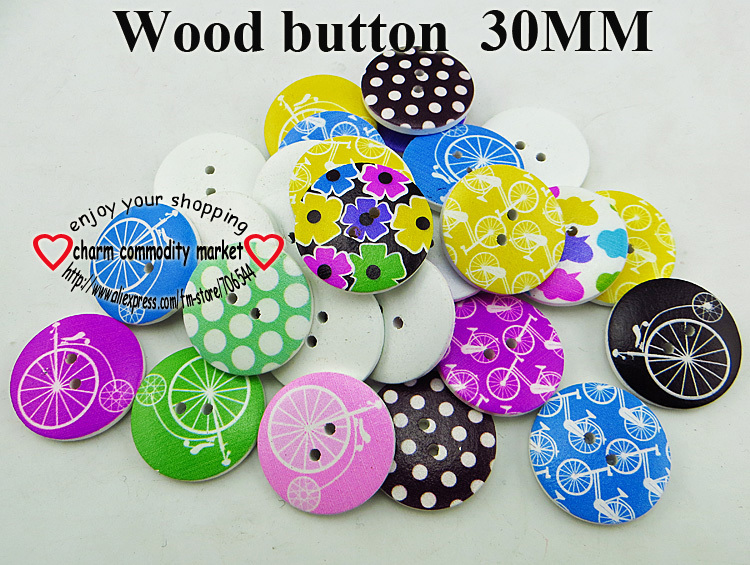 120pcs mixed new designs painting wooden buttons 30MM boots clothes accessory MCB-951