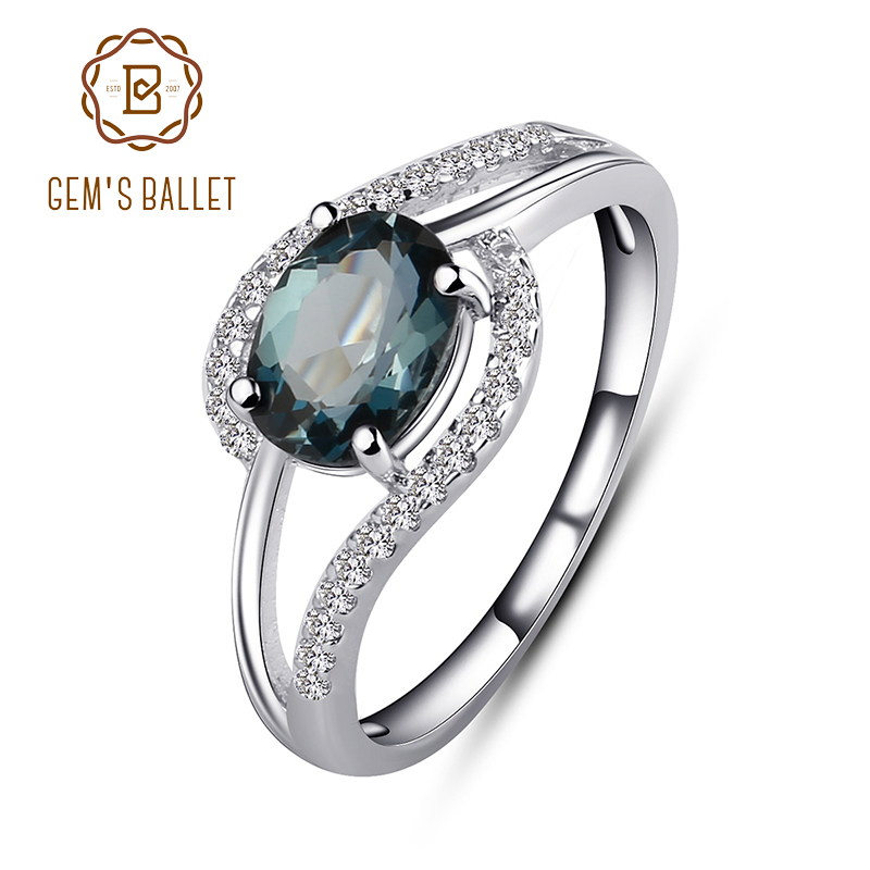 Gems Ballet 1.57Ct Natural London Blue Topaz Gemstone Vintage Ring For Women Wedding Band Ring 925 Sterling Silver Fine Jewelry
