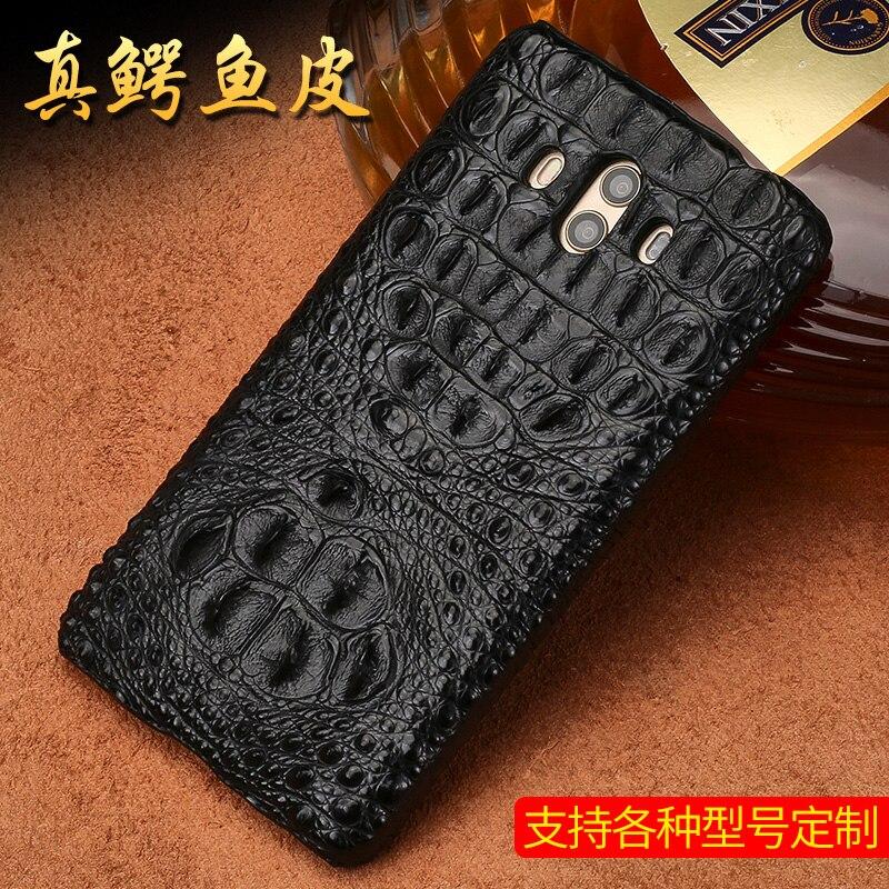 Véritable peau de crocodile téléphone étui pour huawei Mate 10 téléphone couverture arrière de protection en cuir téléphone étui pour huawei p9 lite - 3