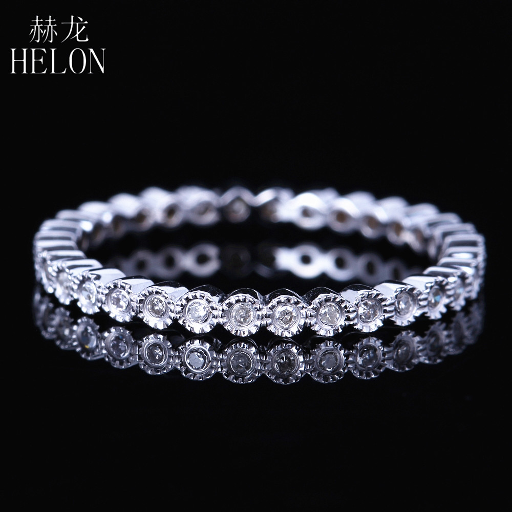 HELON Solid 14K White Gold Full Eternity Natural Diamonds Band Ring Milgrain Art Deco Antique Fine Jewelry Milgrain Wedding Ring напольная плитка realonda ceramica eternity deco azul 45x45