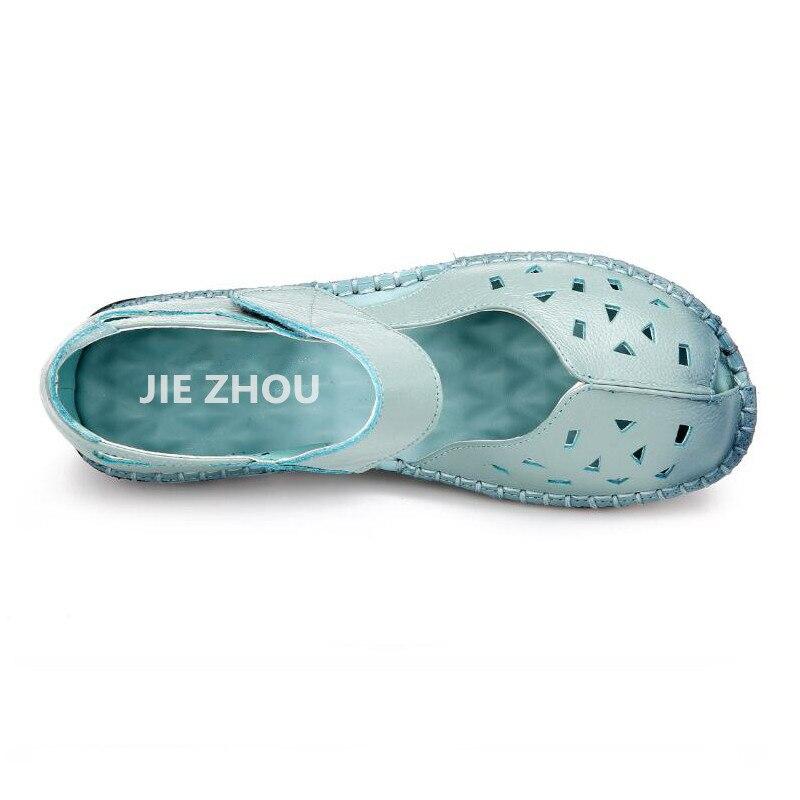 Plana Zapatos Sandalias Auténtico Moda A Al Aire azul Hecha Casual amarillo Mujeres Cielo Mano Verano rojo Libre Cuero Negro Toe Mujer BqS5PY