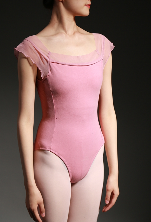 Japanese version of gauze square collar short sleeve Dancewear Ballet Leotard Lace adult girl dance clothes gym suit