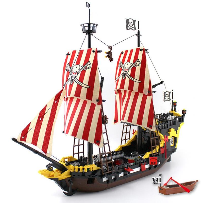 Enlighten Blocks 870+pcs Pirates Ship Black Pearl Model Building Blocks Educational Building Toys For Children Kids Gift