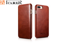 Case For IPhone 6 6s plus 7 Plus Real Leather Flip Cover Phone Cases ICARER Brand Curved Edge Vintage Series Genuine Leather