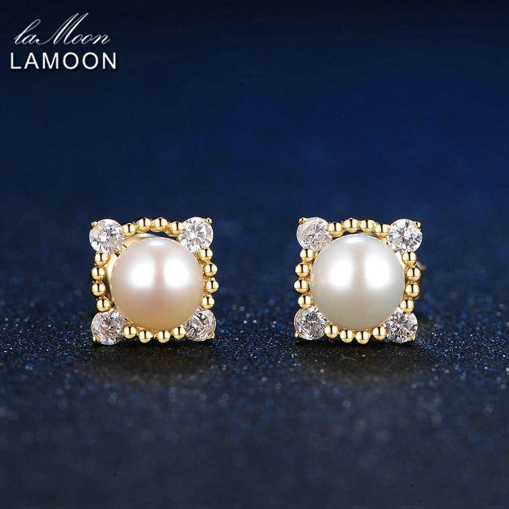LAMOON 5.5mm 100% Natural Freshwater Pearl 925 Sterling Silver Jewelry S925 stud Earrings LMEI017