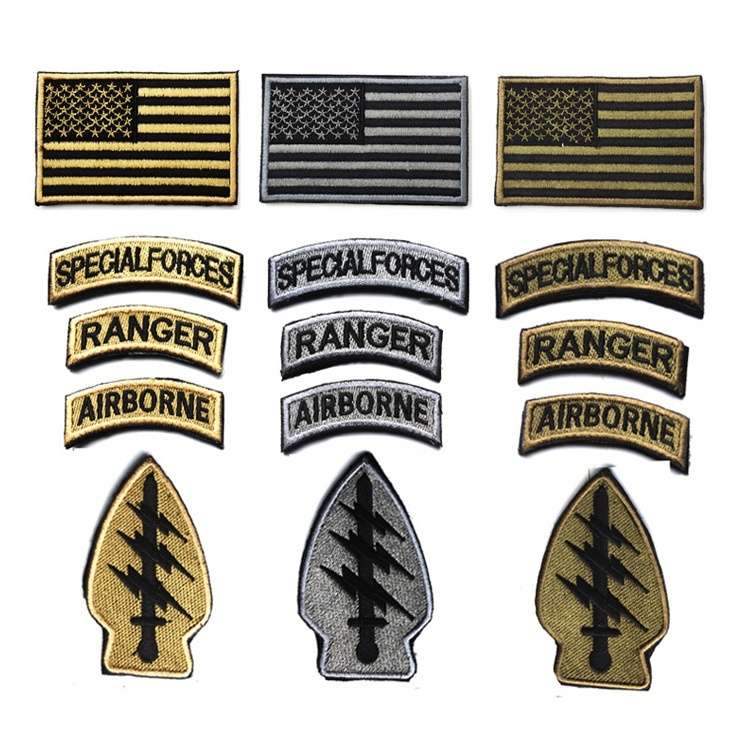 5pcs Set Army Special Forces Embroidery Patch US Flag Airborne Ranger Tab  Military Tactical Morale Patches e5b5751e33e