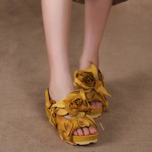 2016 SummerGenuine Leather Women Sandals Handmade Flower Platform Wedges Slingback Cowhide High Heel Shoes