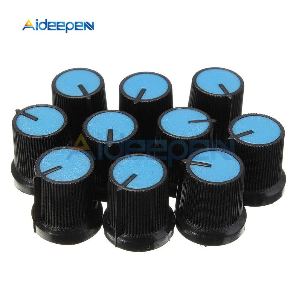 10PCS Black Knob Blue Face Plastic for Rotary Taper Potentiometer Hole 6mm New