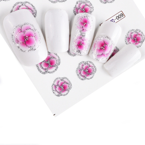 Image 2 - 55pcs New Latest Nail Art Glitter Tips Flower Designs with Gold Powder  Nail Art Sticker Decals Watermark DIY Manicure TRBJC55