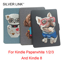 SILVER LINK Embroidery Puppy Kindle PU Case Carton Print Cover For Amazon E-Reader Paperwhite 1 2 3 / kindle 8 Protector Shell