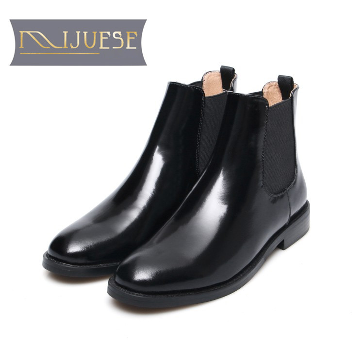 MLJUESE 2018 women ankle boots cow leather patent leather slip on brogue style autumn spring women