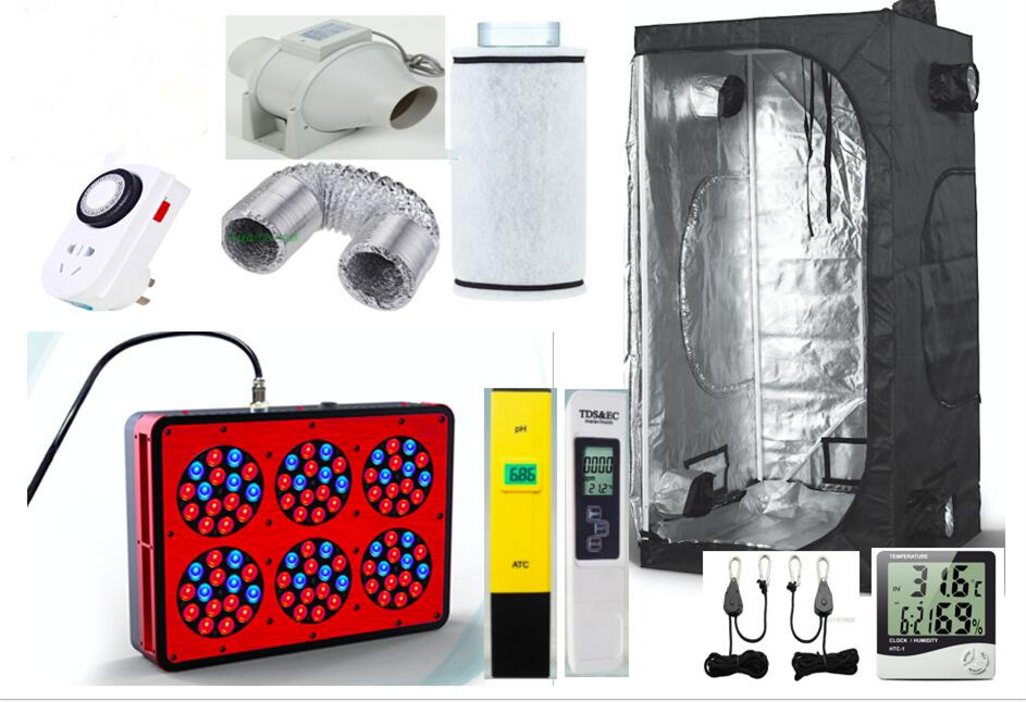 Eco Complete Grow Room Indoor Hydroponic 80x80X160cm Apollo 6 Led Grow Light 270W Ventilation Greenhouse Grow Kit Set-up System