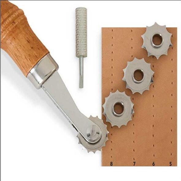 Alta calidad Artesanal de cuero de costura sobre la rueda de la puntada marcador espaciador ruleta Embossing Tool Kit