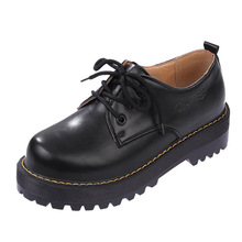 British Style Women Oxfords Spring Winter Lace-Up Flats Round Martens Dr Toe Creepers Casual Ladies Platform Shoes Woman