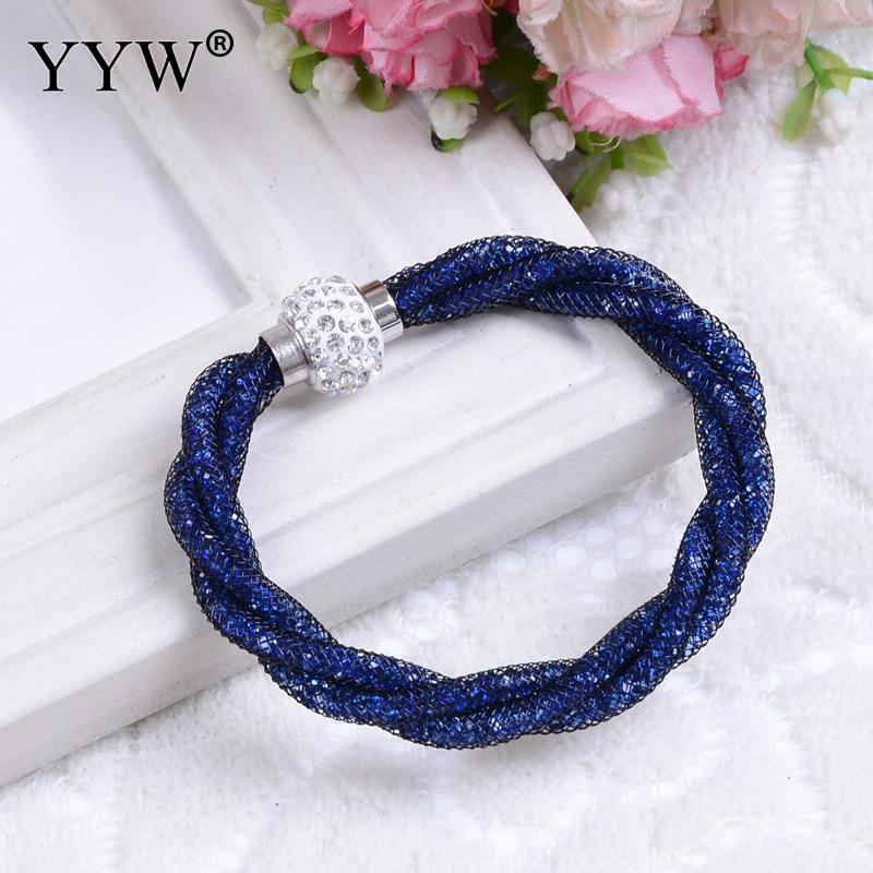 YYW 2017 Fashion Bracelets Rainbow Gift Crystal With Net Chain Mesh Tube Magnetic Bracelets Bijoux Jewelry Women Bracelet Femme