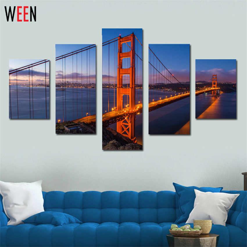 5 Panels Set Picture Canvas Modern Wall Decorative Print Painting On Canvas Bridge Decorative Wall Frameless Pinturas Poster