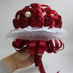 Image 5 - POP Style Pearl Wine Red Silk Ribbon Flowers Bridal Wedding Bouquets Romantic Lace Wedding Bridesmaid Stitch Bouquet W239