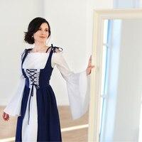 Rosetic Women Vintage Dress Vestidos Verano Retro Bandage Corset Medieval Renaissance Dresses Two Pieces Party Club Elegant