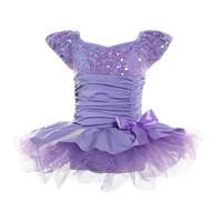 Clearance Sale Puff Sleeve Ballet Tutu Dress For Girls Violet Sequin Bow Dance Costume Nylon Spandex Dancing Clothes C62