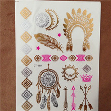 Silver Body Art Flash Tattoos Indian Sexy Metallic Gold Tattoo Temporary Waterproof Tatoos Sticker