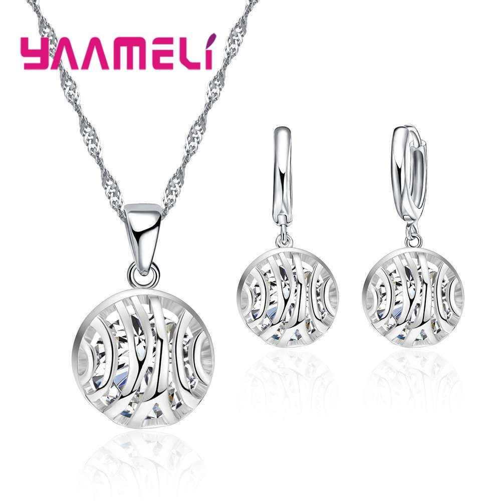 YAAMEL מיוחד עיצוב מגניב נשים נקבה 925 סטרלינג כסף שרשרת עגילי סט חלול תכשיטי מתנת יום הולדת באיכות גבוהה
