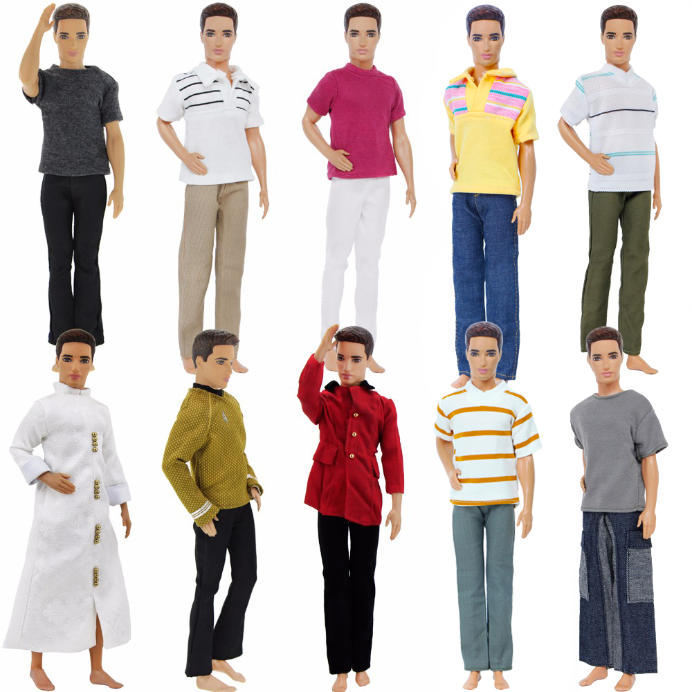 High Quality Men's Outfit Daily Casual Wear T-Shirt Blouse Pants Trousers Clothes For Barbie Doll Friend Ken Accessories Kid Toy