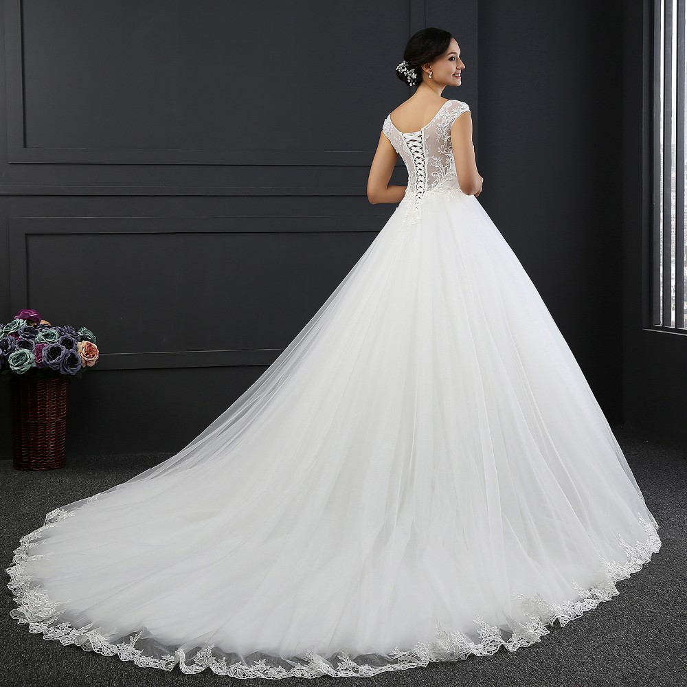 MZ-0031 New Arrival Princess Wedding Dress Custom Made Sequins Cap Sleeve Bride Dresses Tulle Wedding Dresses 3