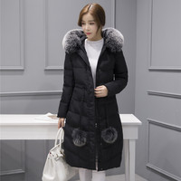 2016 Thick Winter Women Down and Parkas White Duck Filled Long Down Jacket Hooded Fur Parka Coat ow0226