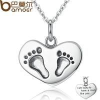 BAMOER 925 Sterling Silber Gravieren Glücklich, haben Ein Mom wie Sie Baby Füße Anhänger Halsketten Edlen Schmuck Mutter Geschenk SCN067