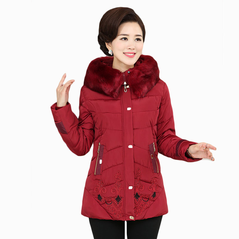 2017 NEW HOT WOMEN WINTER JACKER MID-LENGTH STAND COLLAR THICK WARM FEMALE PARKAS MIDDLE-AGED AND ELDERLY COAT ZL654