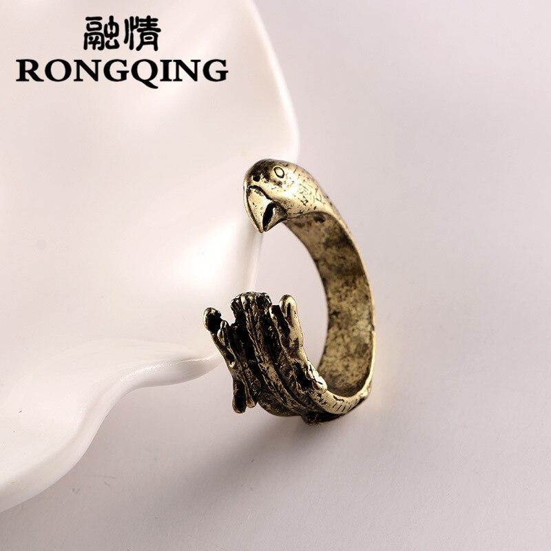 RONGQING Nový příchod Horký výprodej Vintage Lucky Pet Papoušek Prsteny Otevřená velikost Zvířecí prsten Muži Anelli Dámská párty dárek