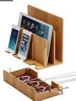 Multi-Функция натурального бамбука Вуд Charge charging Dock Колыбели подставка держатель для хранения Коробка для Iphone 5, 6 S 7 Plus iPad Mac