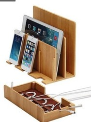 Multi-Function Natural Bamboo Wood Charge Station Charging Dock Cradle Stand Holder Storage box For iPhone 5 6S 7 Plus iPad MAC