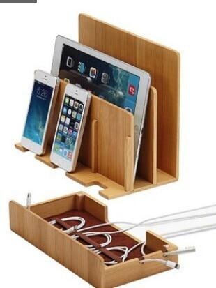bilder für Multifunktions Natürliche Bambus Holz Ladestation Ladestation Ladestation halter aufbewahrungsbox für iphone 5 6s 7 plus ipad MAC