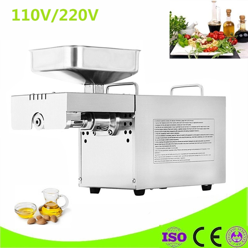 Hot And Cold Mini Oil Pressing Machine Soybean Home Use Oil Pressers Cold Peanuts Electric Stainless Steel Oil Press Machine automatic nut seeds oil expeller cold hot press machine oil extractor dispenser 350w canola oil press machine