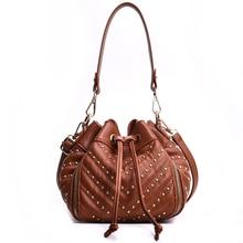 Luxury Handbags Women Bags Designer New Retro Style crossbody Drawstring Bucket Bag Leisure Travel Shopping Rivet Plaid Tote