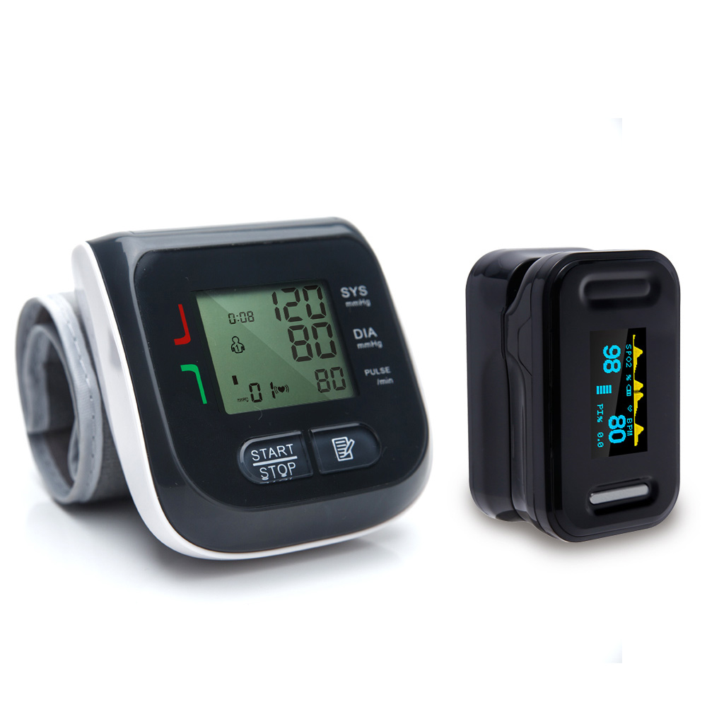 Yongrow Fingertip Pulse Oximeter & Wrist Blood Pressure Monitor Health Care Combination Black And White Can Choose health care wrist pressure monitor digital blood glucose watch