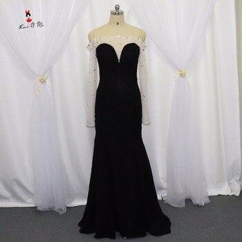 Sexy off Shoulder Black Evening Gowns Long Formal Crystals Long Sleeve Prom Dresses 2017 Mermaid Chiffon Vestido Longo de Festa