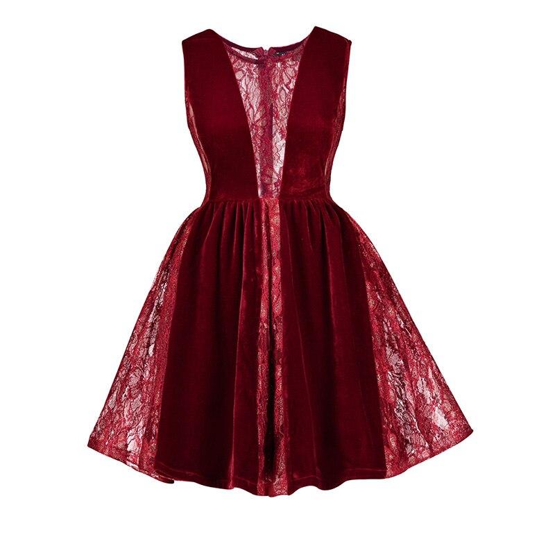 Femmes Velours Dentelle Patchwork Robe Vintage Sans Manches Mini A-ligne Robe Gothique Dame Sexy Rouge Parti Évider Robe