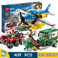 409pcs City Mountain River Heist Seaplane Amphibious vehicle Armored Truck 10864 Model Building Blocks Toys Compatible With Lego