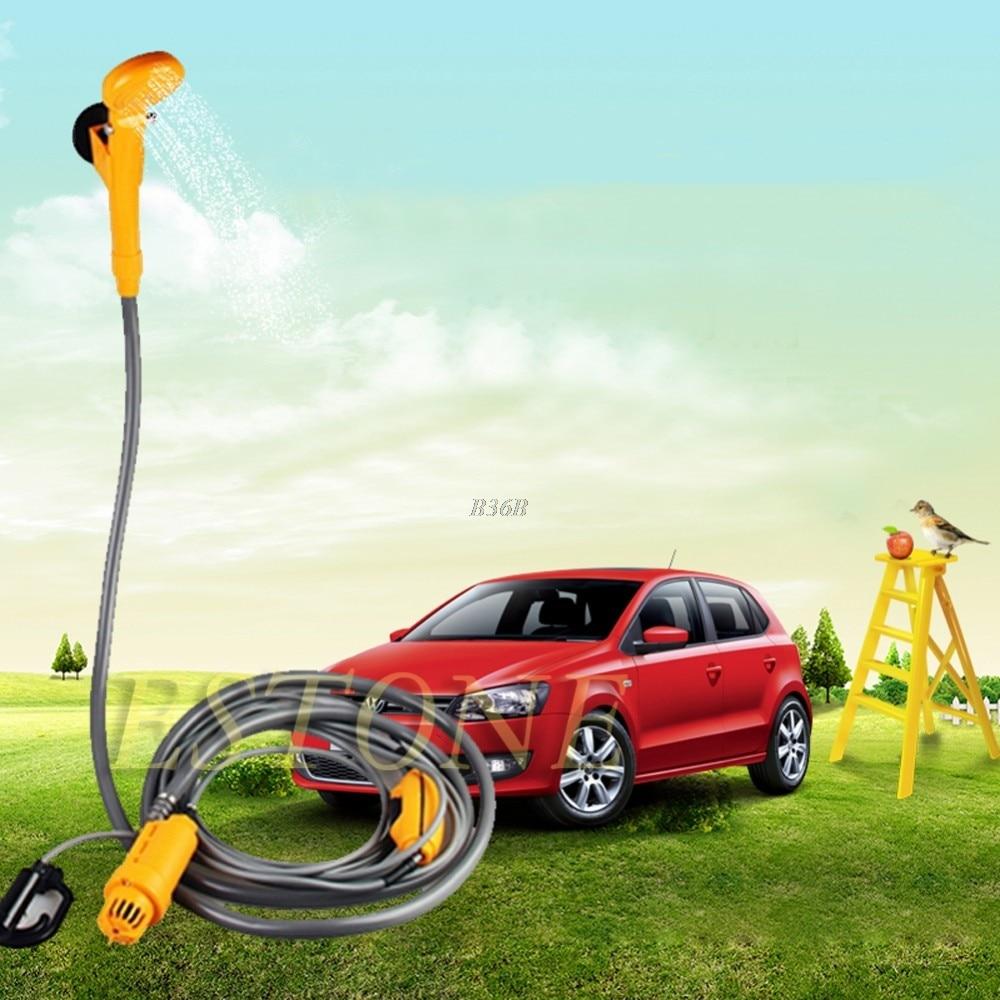 Portable 12V Electric Car Plug Outdoor Caravan Camping Travel Pet Dog Shower USA