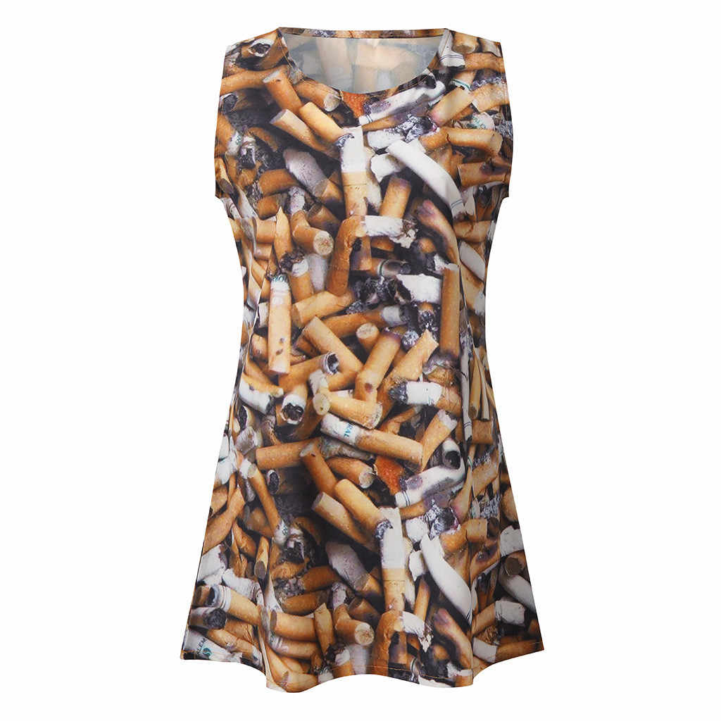 2019 vetement ファムファッション女性 vestido 夏ドレス女性バット印刷ドレスカジュアルノースリーブビーチドレス服 elbise