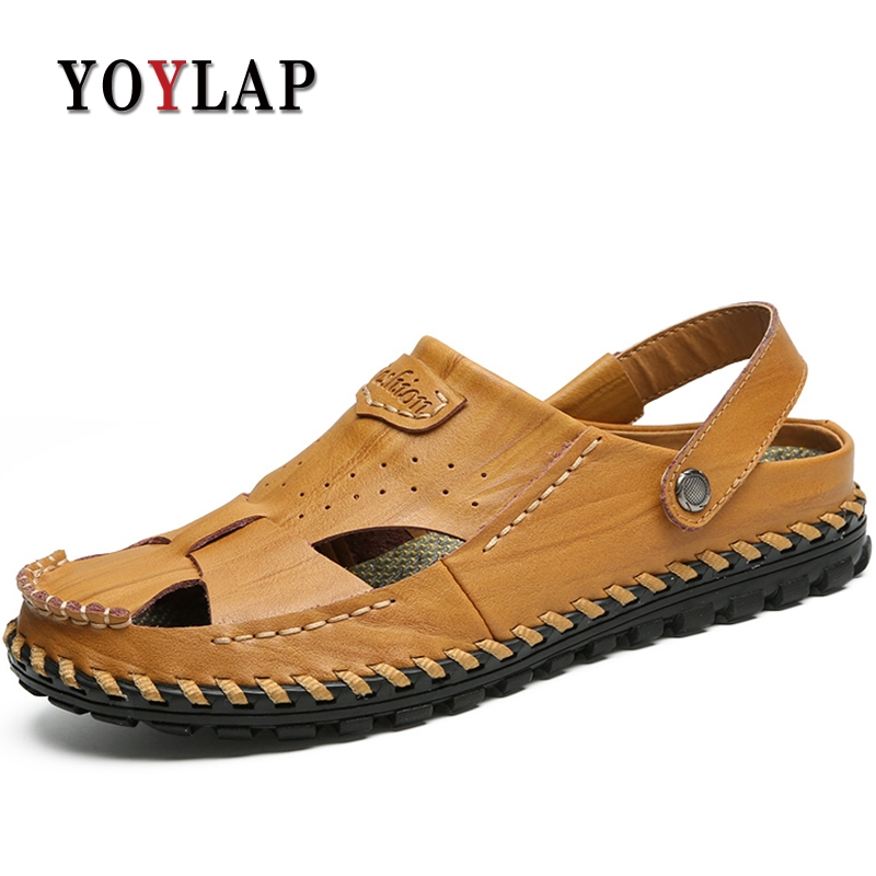Yoylap 2018 Mens Sandals Genuine Leather Summer Shoes New Beach Men Casual Shoes Outdoor Sandals for man