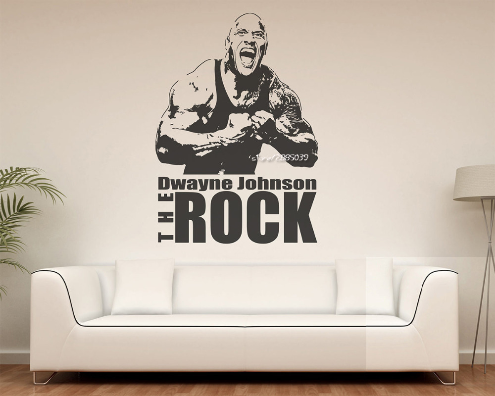 dwayne johnson the rock wall stickers superstar wrestlers wall decal home decor boys room 3d. Black Bedroom Furniture Sets. Home Design Ideas