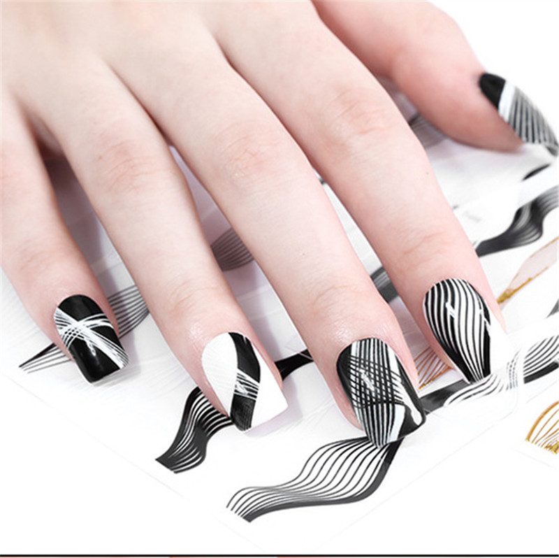 3D Nail Sticker Gold Black White Line Nail Sticker Lines Adhesive Transfer Decals Manicure Gel Polish Nail Art Decorations Hot in Stickers Decals from Beauty Health